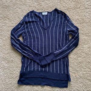 DKNY Striped Fine Knit V-Neck Lightweight Sweater